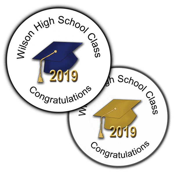 Graduation Hats Round Party Favor Stickers
