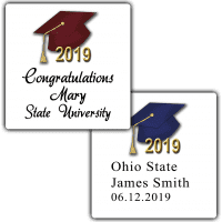 Graduation Hats Square Party Favor Stickers