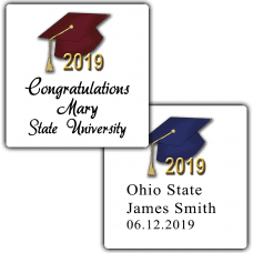 Graduation Hats Square Party Favor Stickers