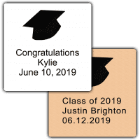 Black Grad Hat Square Party Favor Stickers