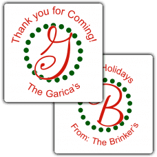 Holiday Monogram Square Party Favor Stickers