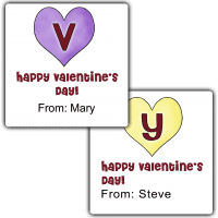 Candy Hearts Monogram Square Treat Bag Stickers
