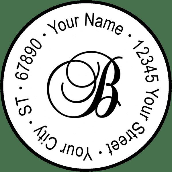 Script Monogram Round Return Address Labels