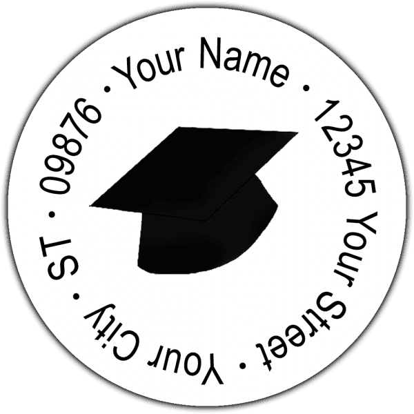 Black Grad Caps Round Return Address Labels