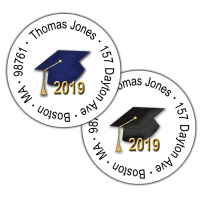 Graduation Hats Round Return Address Labels