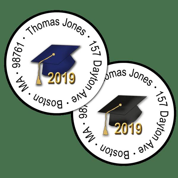 Graduation Hats Round Return Address Labels