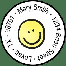 Smiley Face Round Return Address Labels