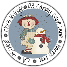 Annie & Snowman Round Return Address Label