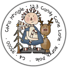 Annie & Rudolf Round Return Address Label
