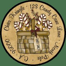 Candy Cane Basket Round Return Address Label