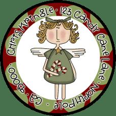 Candy Cane Angel Round Return Address Label