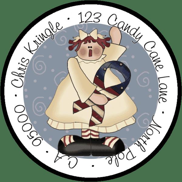 American Holiday Annie Round Return Address Label