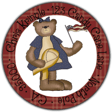 American Ribbon Christmas Bear Round Return Address Label