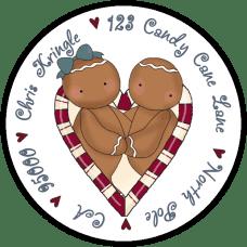 Candy Cane Ginger Love Round Return Address Label