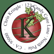 Initial Christmas Ornament Round Return Address Label