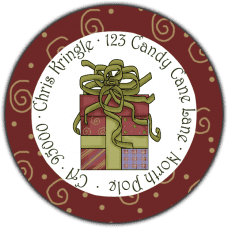 Christmas Present Round Return Address Label