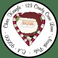Candy Cane Heart Santa Round Return Address Label