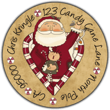 Candy Cane Heart Santa Tea Stained Round Return Address Label