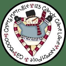 Candy Cane Heart Snowman Round Return Address Label