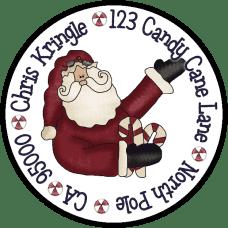 Candy Cane Santa Round Return Address Label