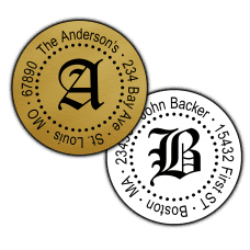 Gothic Monogram Round Return Address Labels