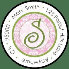 Fancy Green Initial On Pink Damask Round Return Address Label