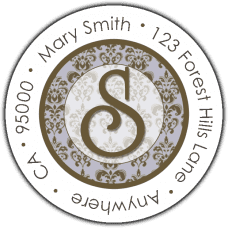 Classic Brown Initial On Blue Damask Round Return Address Label