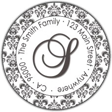 Fancy Silver Initial With Damask Boarder Round Return Address Label