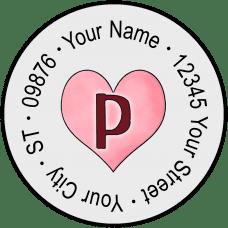 Candy Hearts Monogram Round Return Address Labels