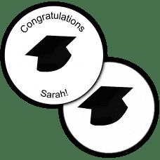 Black Grad Hat Round Seals & Stickers