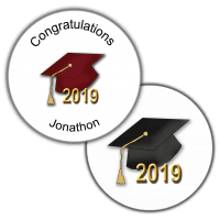 Graduation Hats Round Seals & Stickers
