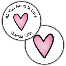 Pink Heart Round Seals & Stickers