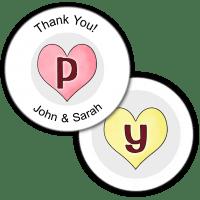 Candy Hearts Monogram Round Seals & Stickers