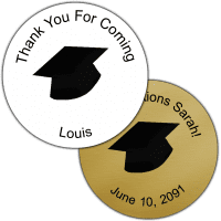 Black Grad Hat Round Party Favor Stickers