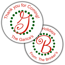 Holiday Monogram Round Party Favor Stickers