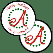 Holiday Monogram Round Seals & Stickers