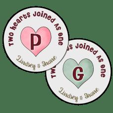 Candy Hearts Monogram Round Wedding Favor Stickers
