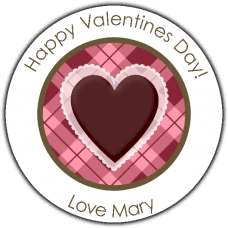 Argyle Valentine Heart Round Sticker