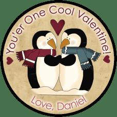 Penguin Love Round Sticker