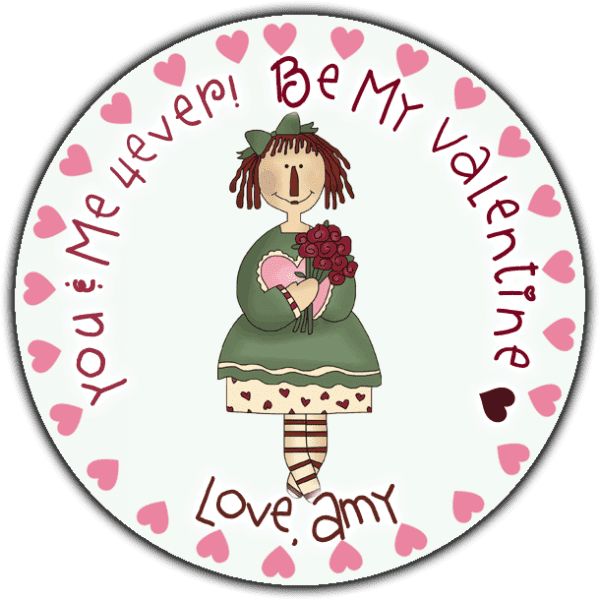 Pink Hearts Annie Round Sticker