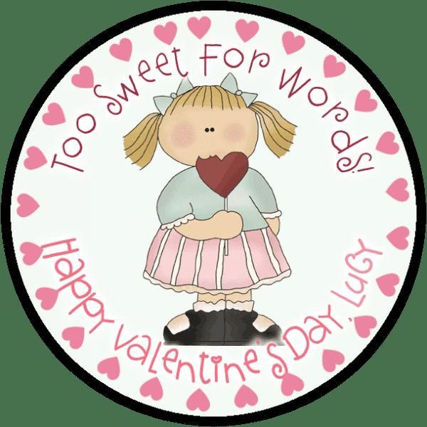 Heart Lollipop Girl Round Sticker