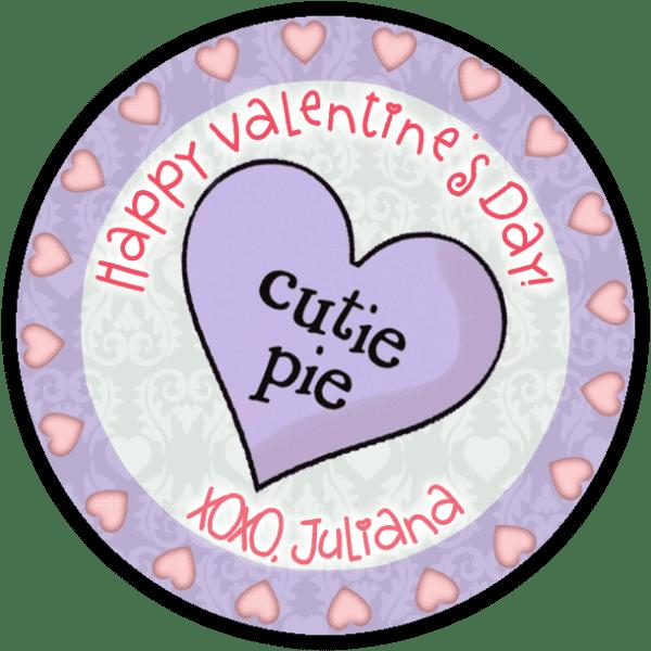 Cutie Pie Candy Heart Round Sticker