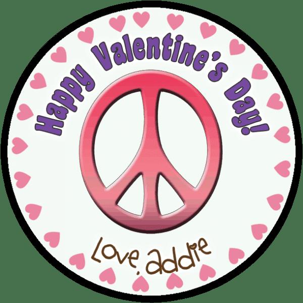 Pink Valentine Peace Sign Round Sticker