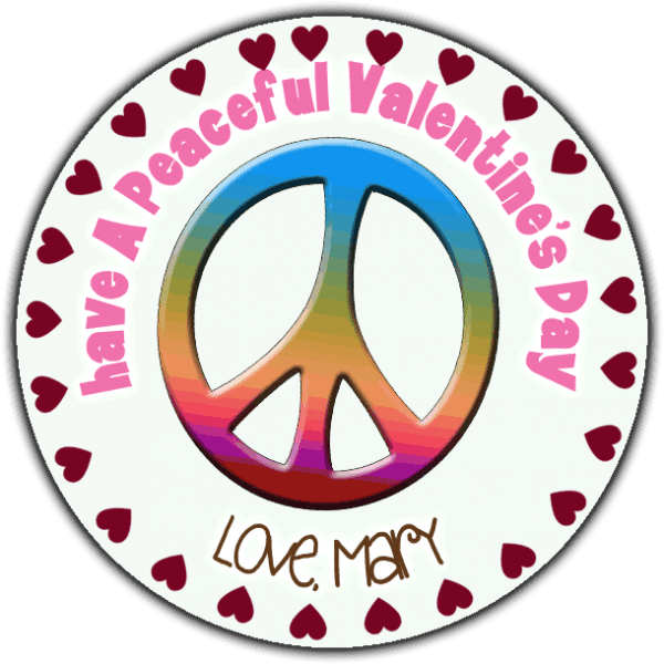Rainbow Valentine Peace Sign Round Sticker