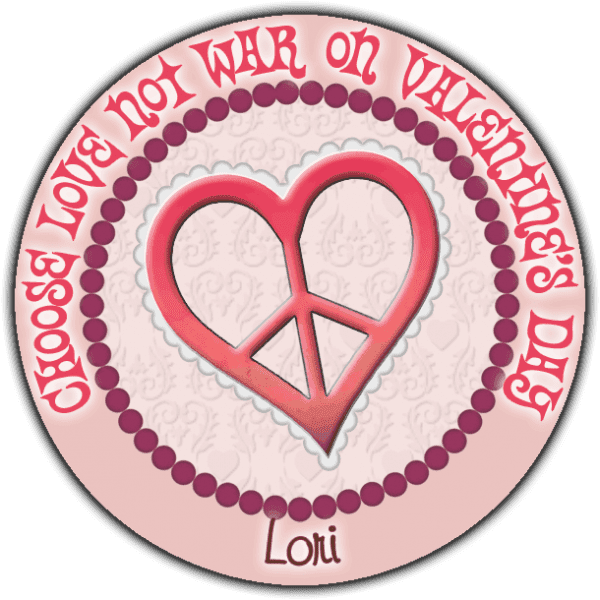 Pink Valentine Heart Peace Sign Round Sticker