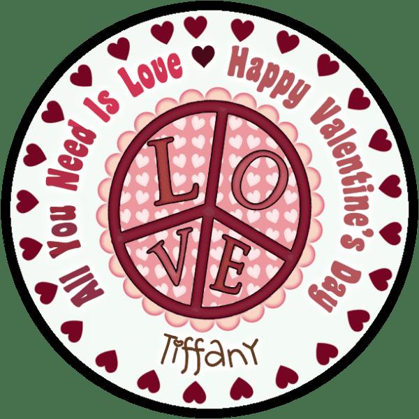 Valentine Love Peace Sign Round Sticker
