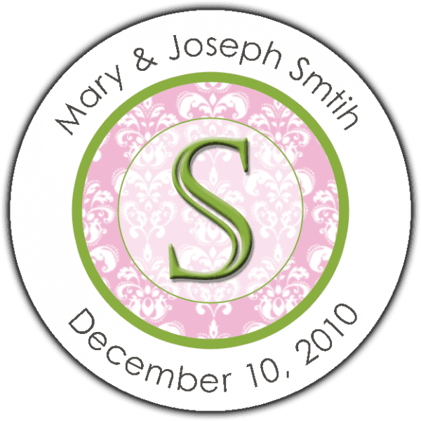 Fancy Green Initial On Pink Damask Round Sticker