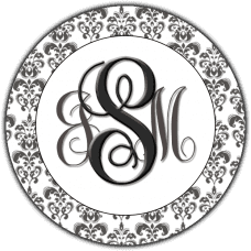 Fancy Silver Monogram With Damask Boarder Round Sticker