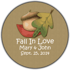 Brown Fall Leaves & Acorn Round Wedding Favor Stickers
