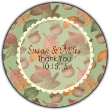 Green Fall Leaves & Acorn Round Wedding Favor Stickers
